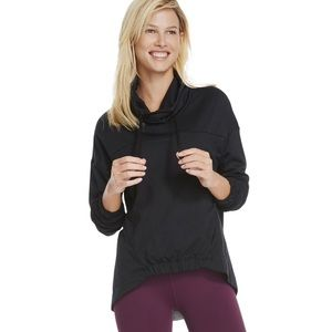 Fabletics Europa Pullover Sweater Black Cowl Neck Long Sleeve Large